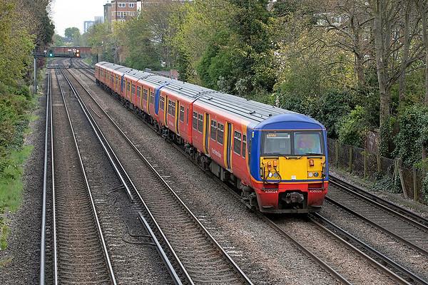 456024, 456018 and 5854 Barnes 28/4/2021 2O23 1033 London Waterloo-London Waterloo (via Teddington)