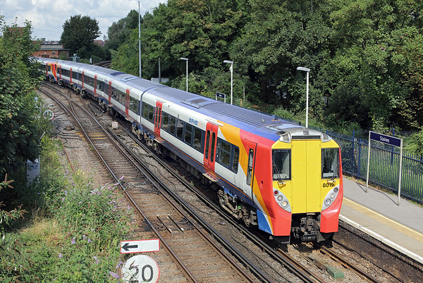 8019 and 8024, Staines 7/8/2014 2C28 1012 Reading-London Waterloo