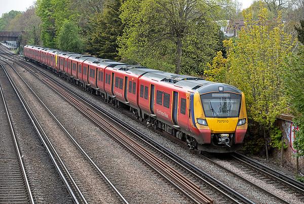 707010 and 707002, Barnes 28/4/2021 2S26 1003 Weybridge-London Waterloo