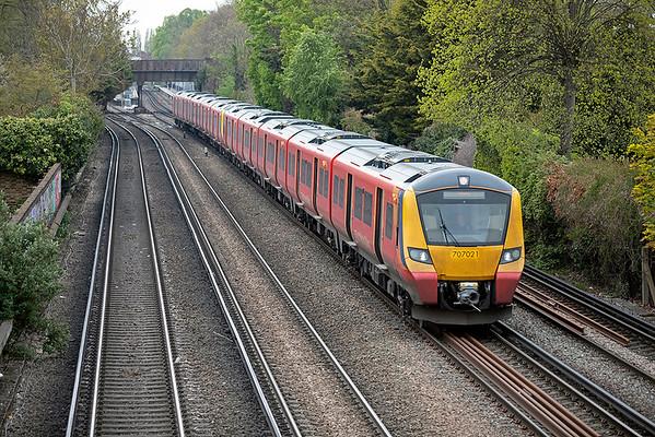 707021 and 707029, Barnes 28/4/2021 2U24 0951 Windsor & Eton Riverside-London Waterloo