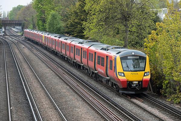 707028 and 707001, Barnes 28/4/2021 2K19 0957 London Waterloo-London Waterloo via Teddington