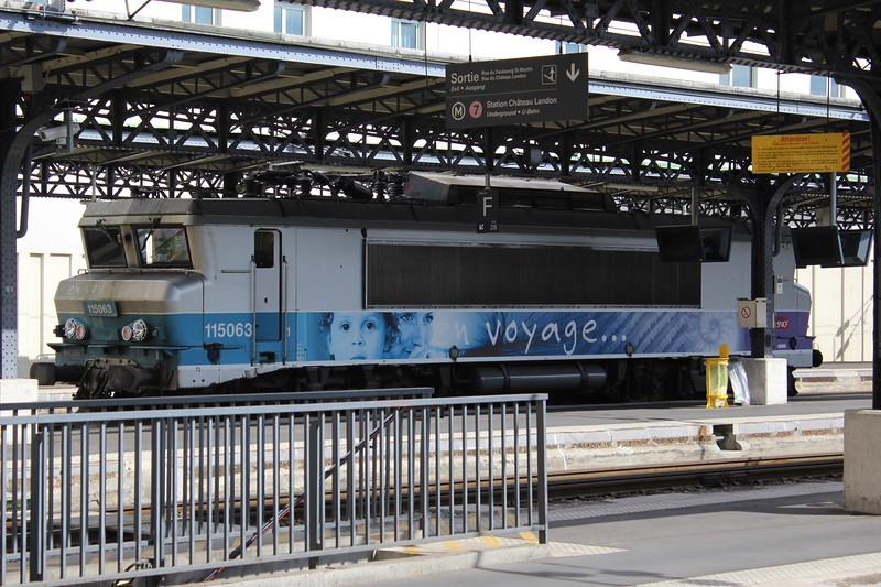 SNCF Class BB 15000 locomotive No. 15063 in En Voyage Livery at Paris Est