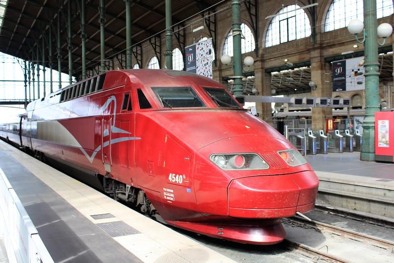Thalys PBA Class TGV Réseau high speed EMU No. 4540 at Paris Gare du Nord