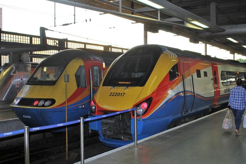 East Midlands Trains Class 222 No 222017 & Class 43 No. 43059 High Speed Train (HST) at London St Pancras Station