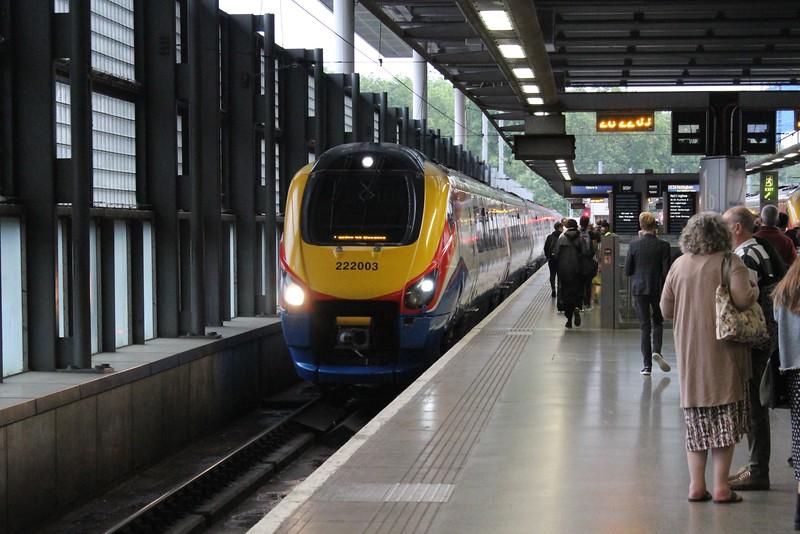 East Midlands Trains Class 222 No 222003 at London St Pancras Station
