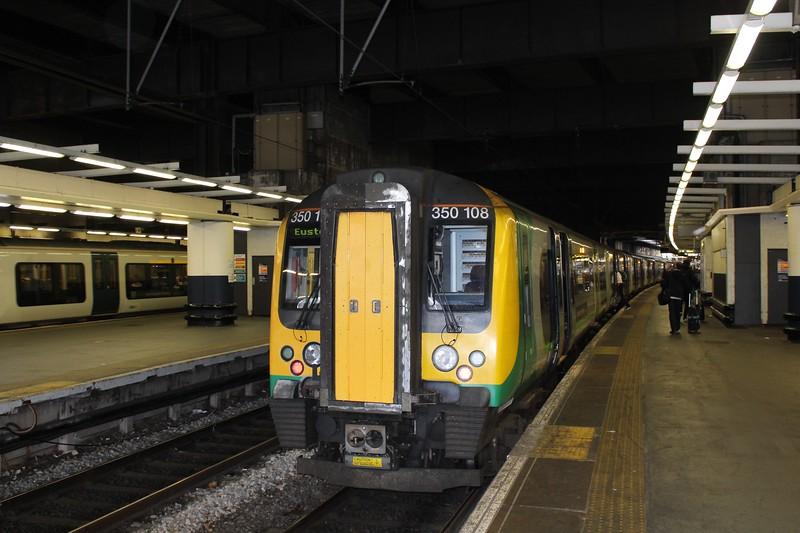 London Northwestern Railway Class 350 No. 350108 at London Euston Station