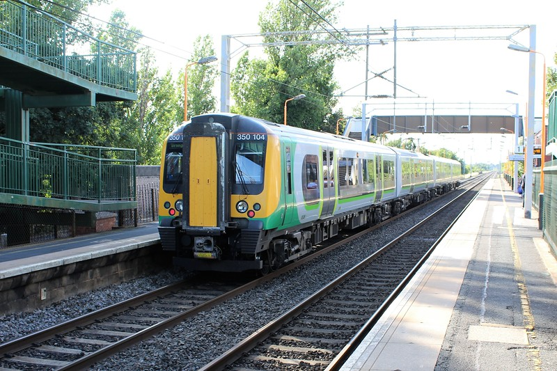 London Northwestern Railway Class 350 No. 350104 at Marston Green Station