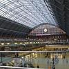 London St. Pancras Station – Clock, Meeting Place statue and Eurostar Platforms