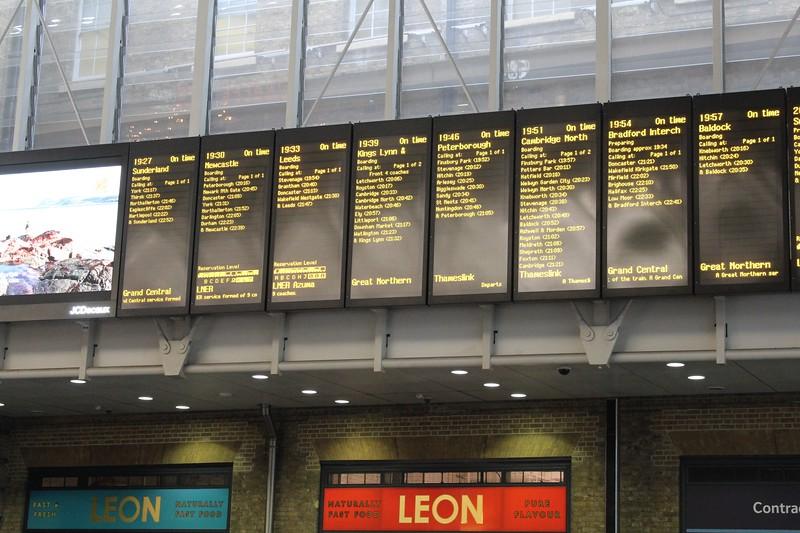 London King's Cross Station – Departure Boards