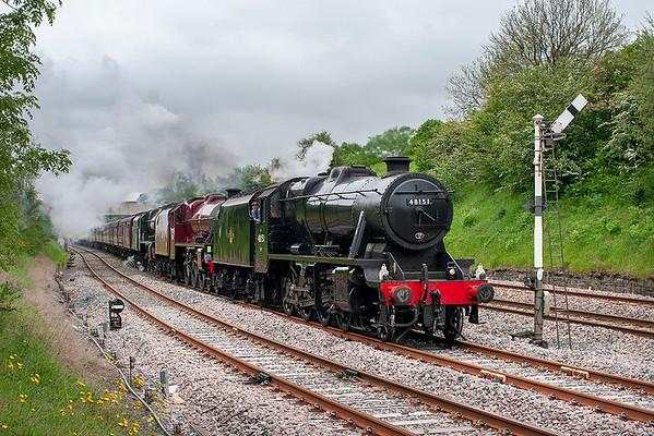 48151, 46115 'Scots Guardsman' and 45699 'Galatea', Settle Junction 29/5/2014 5Z70 0920 Carnforth-Dereham