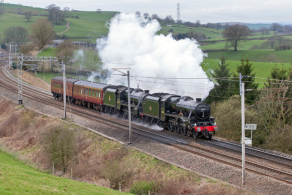 45231 'The Sherwood Forester' and 45407 'The Lancashire Fusilier', Lambrigg 9/4/2009 5Z72 0530 Heywood-Glasgow Works