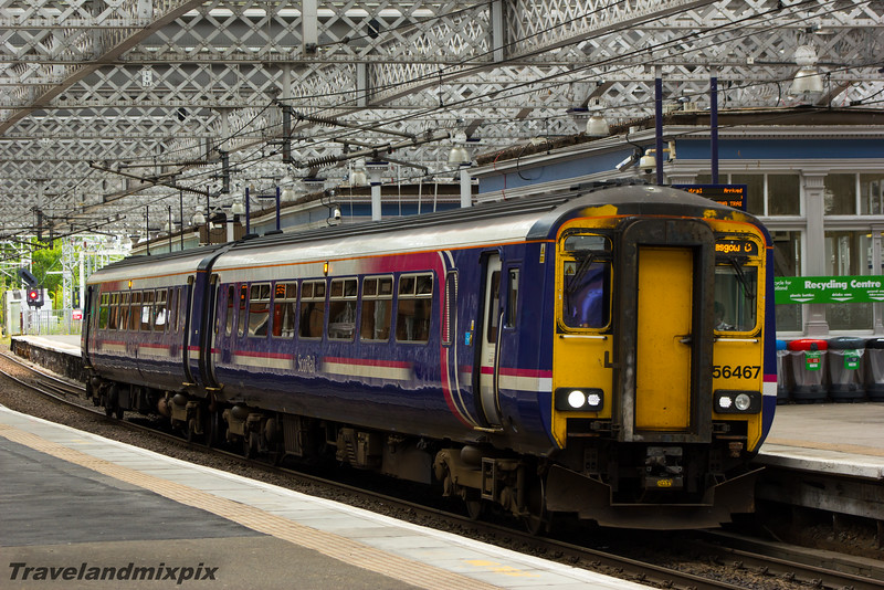 156467<br> Scotrail<br> Paisley Gilmour Street<br> 11/08/2015<br> <i>This unit is on a service from Stranraer to Glasgow Central. The direct route from Glasgow to Stranraer via Paisley was to end on 12th December 2015, after 138 years, when direct Glasgow to Stranraer services were instead re-routed via Kilmarnock</i>