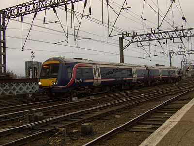 170432  arriving at Glasgow Central with a service from Edinburgh Waverley. Two unusual instances surround this working. The unit replaced the normal Class 156 working on the route and had it's middle car out of service due to an engine fault running as a two unit set instead of three.
