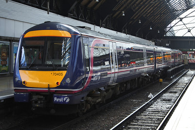 170405 'Riverside Museum' stands at P7 at Glasgow Queen Street High Level waiting to form a service to Edinburgh Waverley