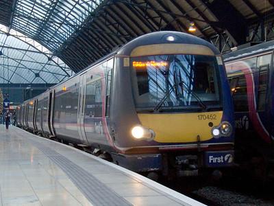 170452 waiting to depart to Edinburgh Waverley from Glasgow Queen Street