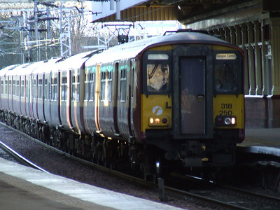 318250 drawing into Platform 3 of Paisley Gilmour Street on a service to Glasgow Central