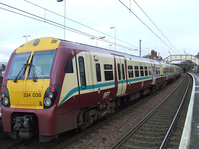 334038 at the rear of a Glasgow Central service at Johnstone