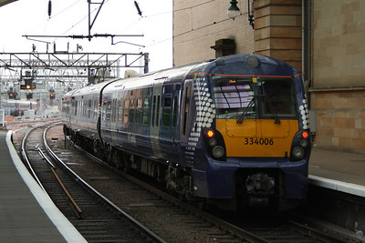 334006 depart to Ayr from Platform 15 of Glasgow Central