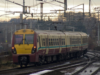 334001 crossing Wallneuk Junction at Paisley Gilmour Street. It ran as far as Arkleston sidings and reversed to come back on a Wemyss Bay service due to Glasgow Central being blocked by a broken down train