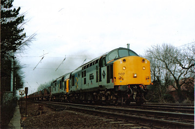 37507 Hartlepool Pipe Mill and 37511 Stockton Haulage with a strip coil train in Trainload Metals livery. Both locos are still in operation with DRS as 37605 and 37611