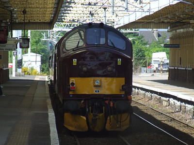 37676 Loch Rannoch passing through Paisley Gilmour Street at the rear of the Royal Scotsman en route to Wemyss Bay