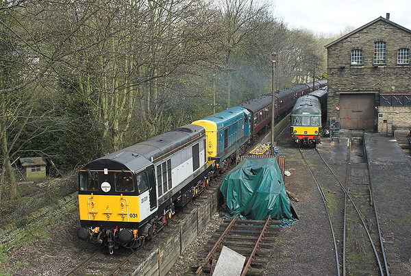 20031 and 20020, Haworth 27/4/2013 1030 Keighley-Oxenhope