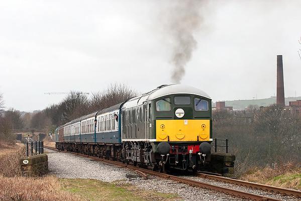 D5054 (24054) and 47402, Heap Bridge 14/3/2009 2J66 1056 Rawtenstall-Heywood