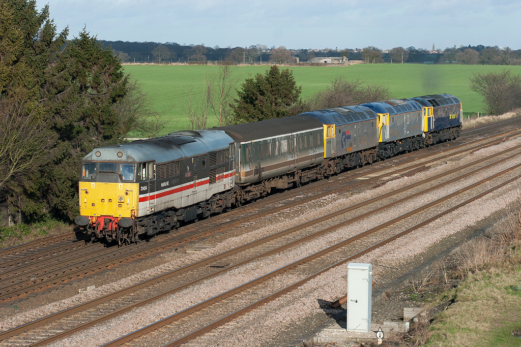 31454, 47316, 47703 and 47237, Colton Junction 30/1/2008<br /> 5Z75 0800 Gloucester Horton Road-Stockton
