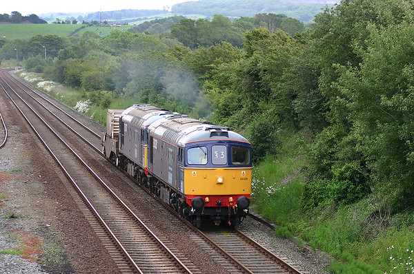 33029 and 33207 Warton 14/6/2005 6C52 1638 Heysham-Sellafield