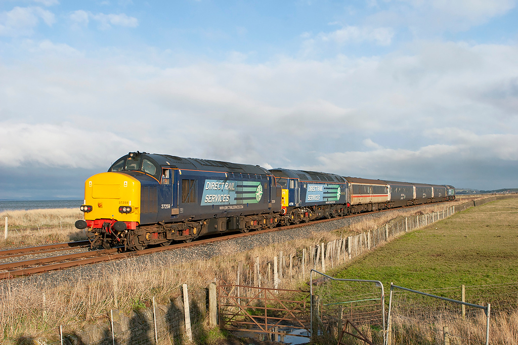 37259, 47790 and 57004 Siddick 17/12/2009<br /> 2Z27 1145 Maryport-Workington