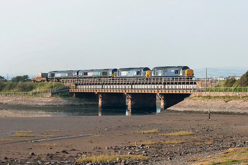 37607, 37611, 66425 and 66431 Ravenglass 2/9/2010<br /> 6K73 1718 Sellafield-Crewe CLS