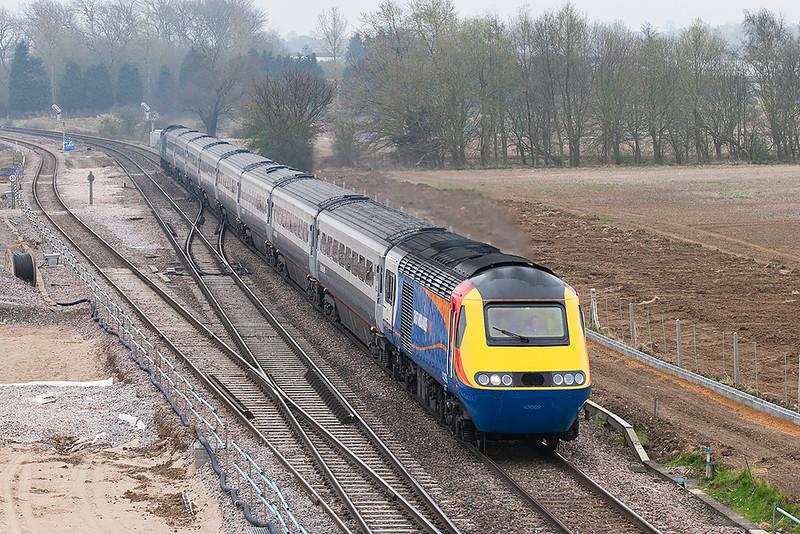 43089 and 43073, Harrowden Junction 3/4/2009<br /> 1D27 1115 London St Pancras-Nottingham