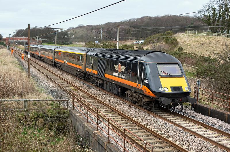 43480 and 43423, Woodacre 18/2/2014<br /> 5Z43 1130 Heaton TMD-Crewe CS