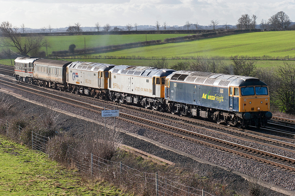 47237, 47703, 47316 and 31454, Colton Junction 30/1/2008<br /> 5Z75 0800 Gloucester horton Road-Stockton
