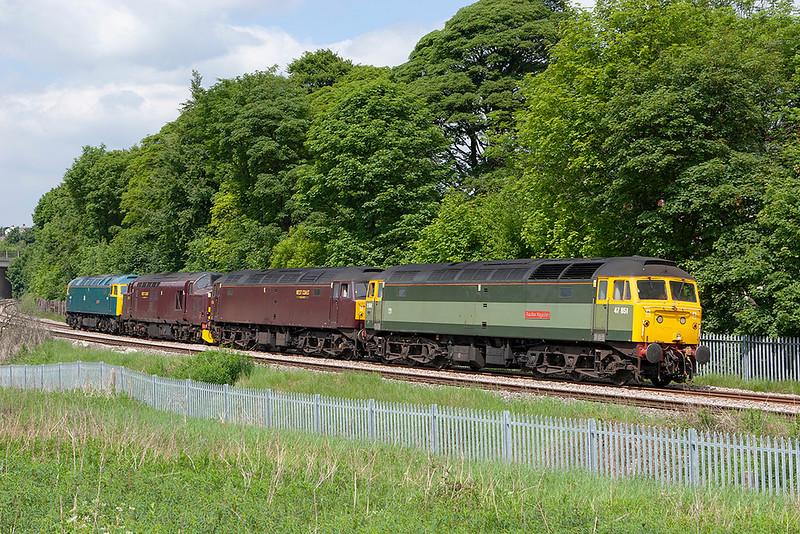 47851, 47826, 37706 and 47270, Brownhills 16/6/2010<br /> 0Z47 1132 Carnforth-Carnforth<br /> (via Hellifield, Blackburn, Preston)