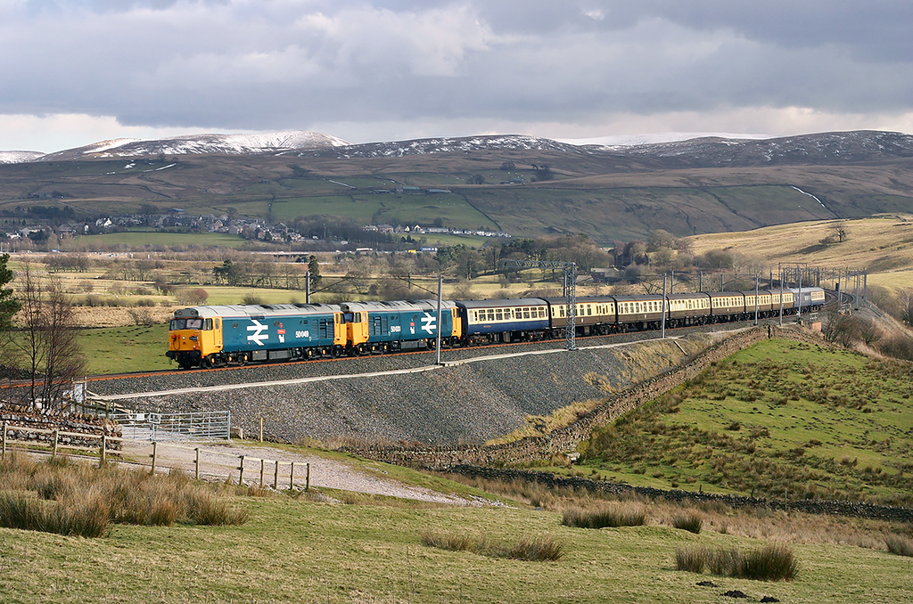 50049 and 50031, Greenholme 4/3/2005<br /> 1Z32 0635 Swindon-Fort William