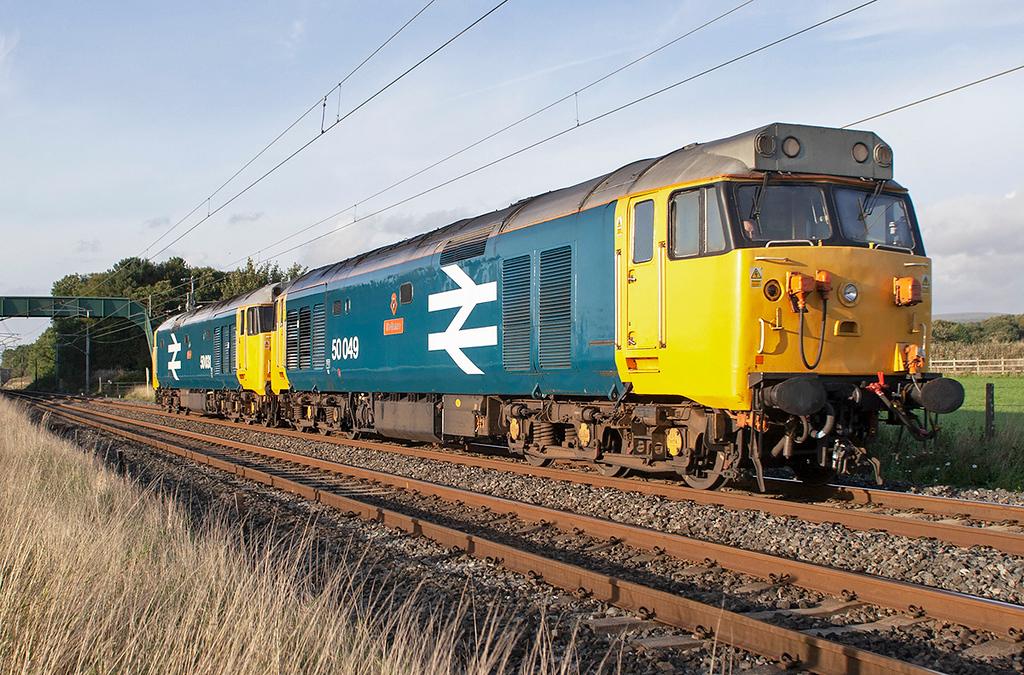 50049 and 50031, Brock 19/9/2006<br /> 0Z50 1645 Carnforth-Crewe CS