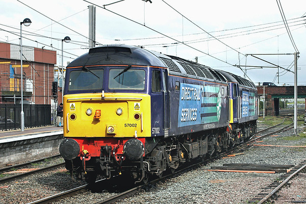 57002 and 47810, Warrington Bank Quay 19/4/2012 0Z47 0900 Carlisle Kingmoor-Crewe Gresty Bridge
