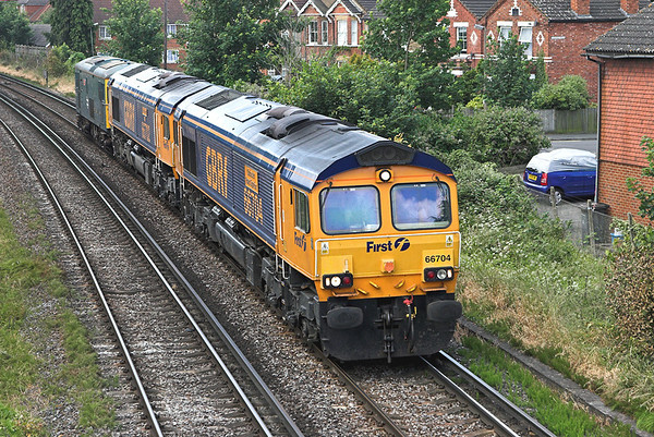 66704, 66702, and 73208, Egham 19/6/2008 0Z14 0930 Eastleigh-Wembley