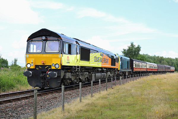66849 and 20020, Kinneil 27/7/2013 1110 Bo'ness-Manuel