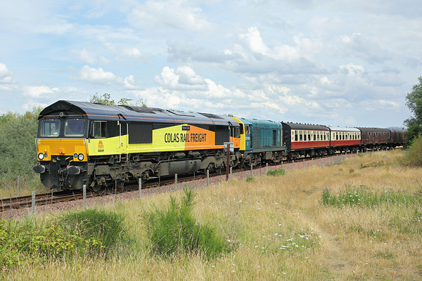 66849 and 20020, Kinneil 27/7/2013 1410 Bo'ness-Manuel
