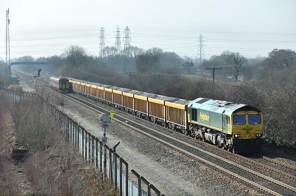 66953 Stenson Junction 14/3/2014 6Z89 1108 Bardon Hill Quarry-Doncaster Down Decoy