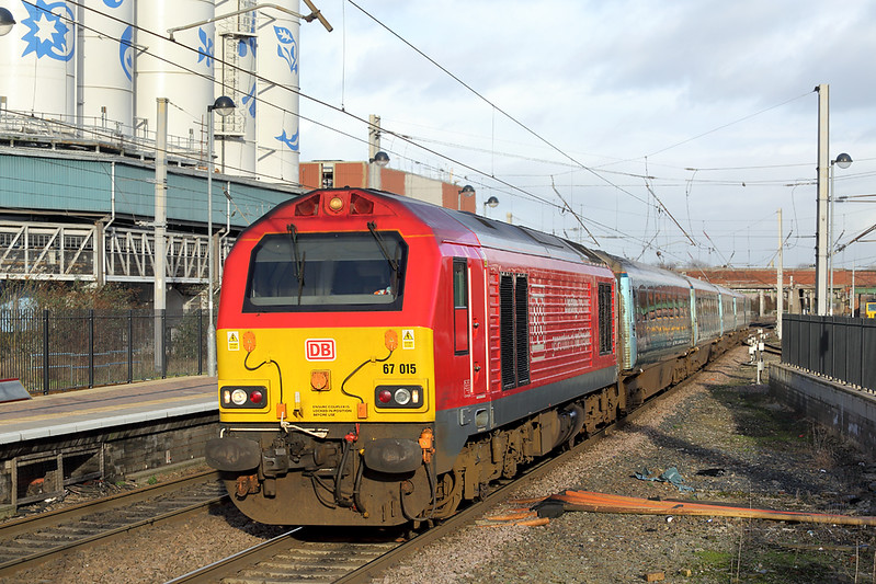 67015 Warrington Bank Quay 25/1/2018<br /> 1D34 0950 Manchester Piccadilly-Holyhead