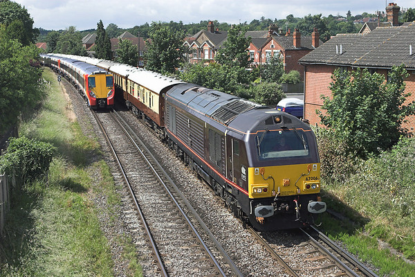 67006 and 8013, Egham 19/6/2008 67006: 5Z76 1100 Ascot-Stewarts Lane 8013: 2C25 1020 London Waterloo-Reading