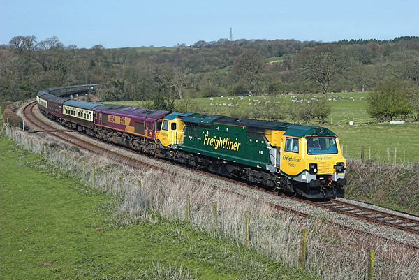 70003 and 66154, Wennington 17/4/2010 1Z66 0454 Swindon-Leeds