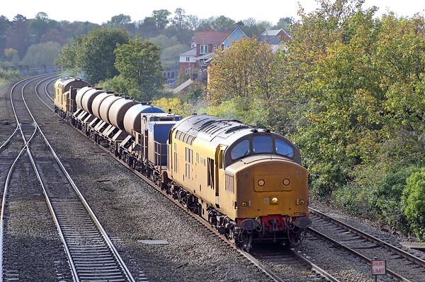 97304 and 97303, Chester 17/10/2014 3S71 1843 Crewe TMD-Crewe TMD  (via Machynlleth, Shrewsbury, Craven Arms, Bidston, Shrewsbury, Crewe and Holyhead)