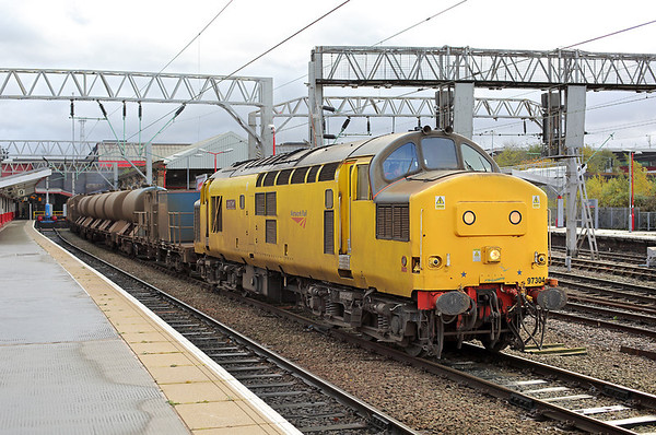 97304 and 97303, Crewe 5/11/2013 3S71 1843 Crewe IEMD-Crewe IEMD (via Machynlleth, Shrewsbury, Craven Arms, Crewe IEMD and Holyhead)