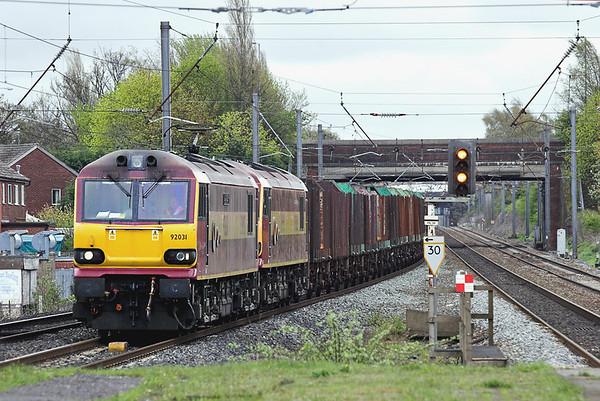 92031 and 92001, Leyland 1/5/2006 4S61 1331 Warrington Arpley-Mossend