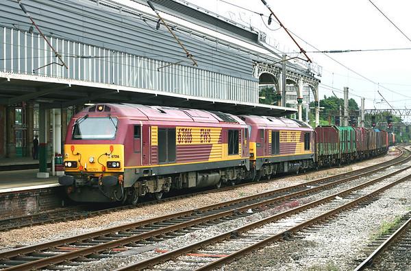 67016 and 67018, Preston 24/7/2005 4C73 1345 Crewe Sydney Bridge-Carlisle Yard