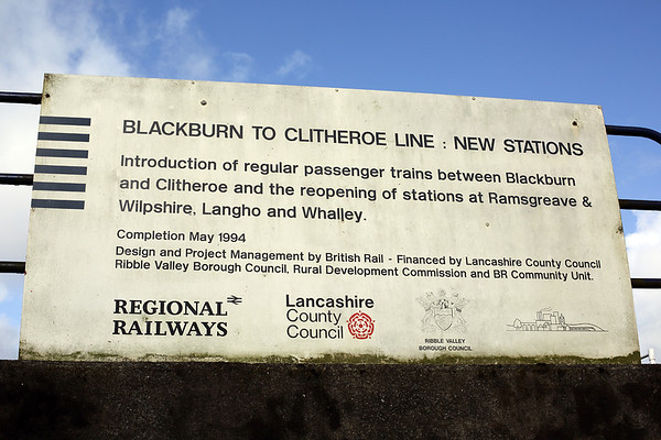 Blackburn to Clitheroe line reopening sign, Langho 27/2/2014